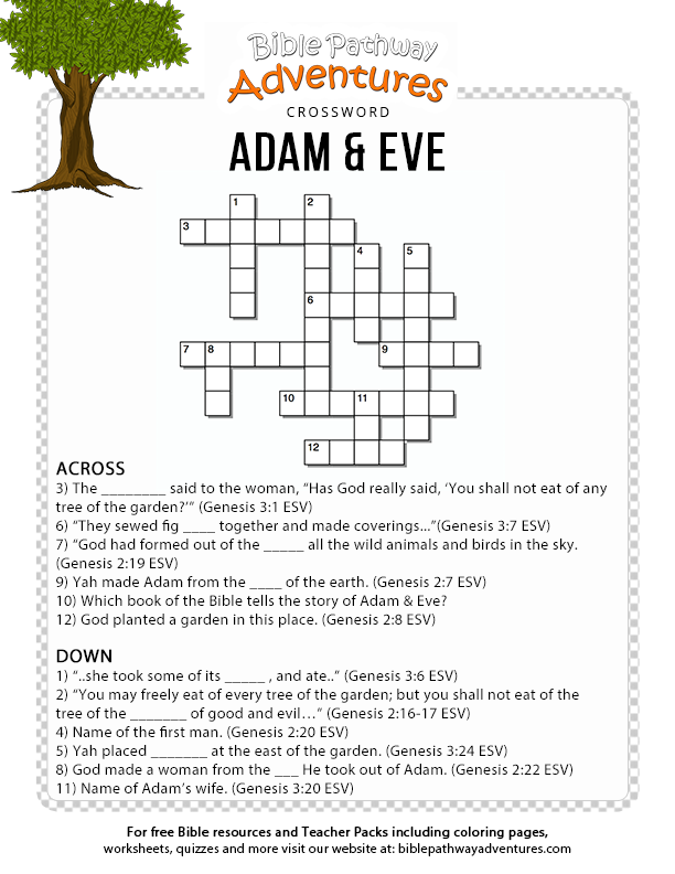 image relating to Free Printable Sunday School Lessons for Youth named No cost Bible Crossword Puzzle: Adam and Eve Bible artwork