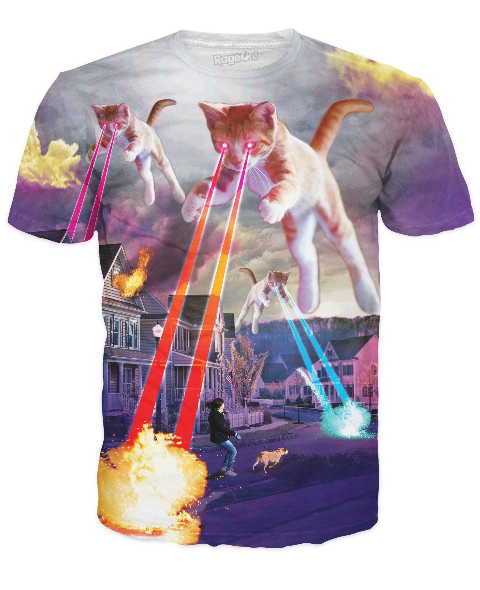 Kitten Invasion T Shirt Mens Tees Fashion Cat Print Cat Tshirt