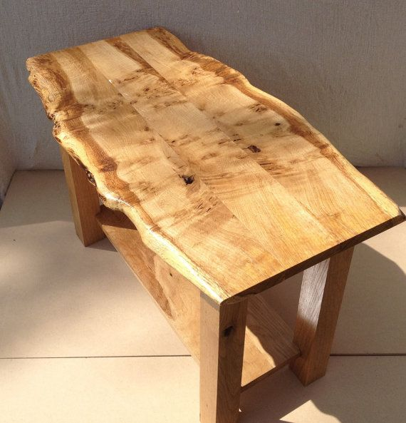 Live Edge Square Coffee Table: Live Edge Table, Oak Coffee Table, Waney Edge Coffee Table