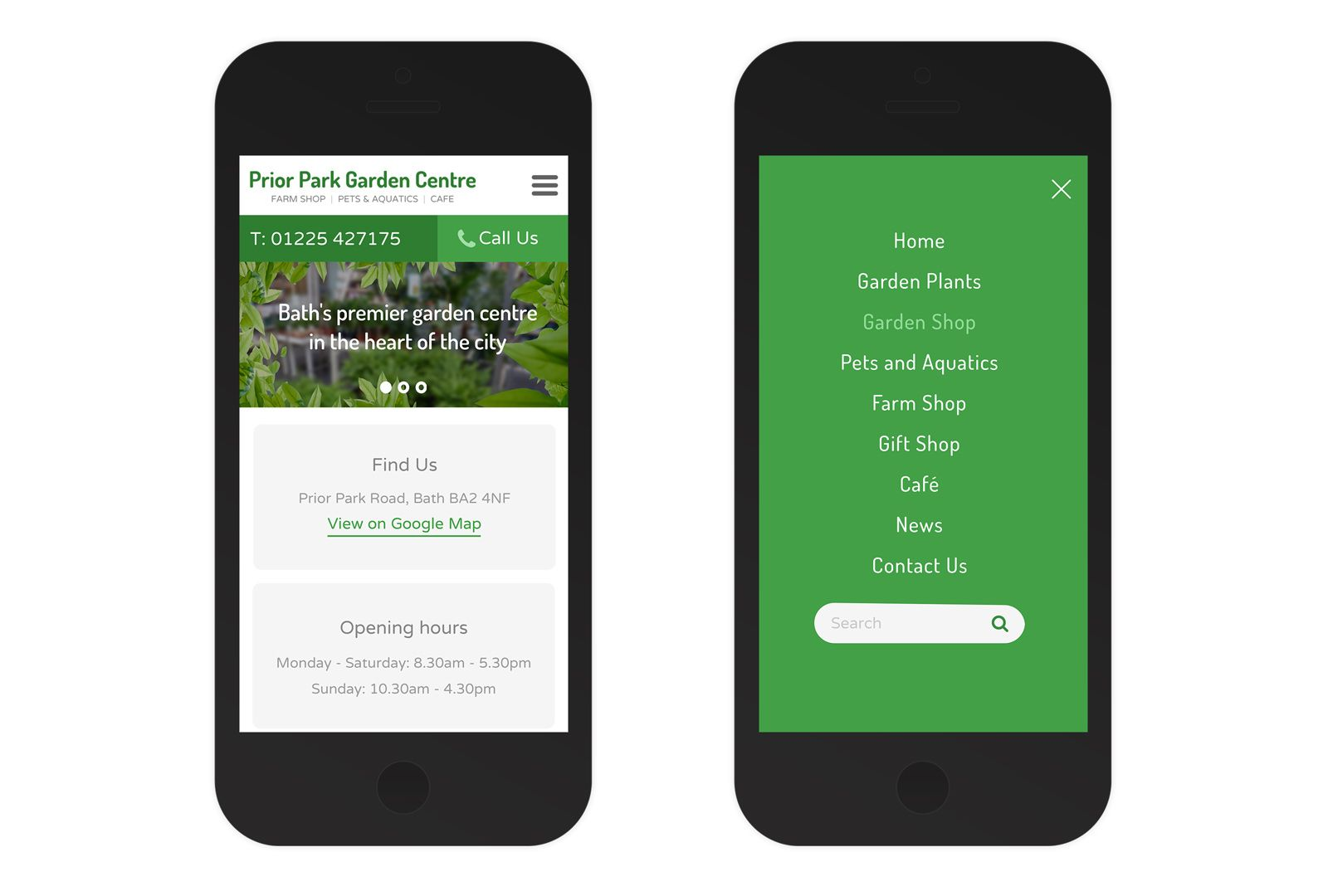 Responsive Website Design For Bath Based Garden Centre. Showing The Mobile  Home Page And Menu