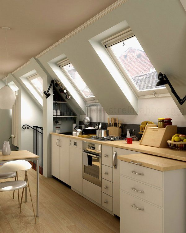 good use of small space attic kitchen I like the shades that