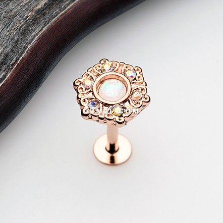Rose Gold Ornate Mandala Sparkle Opal Labret Labret Body