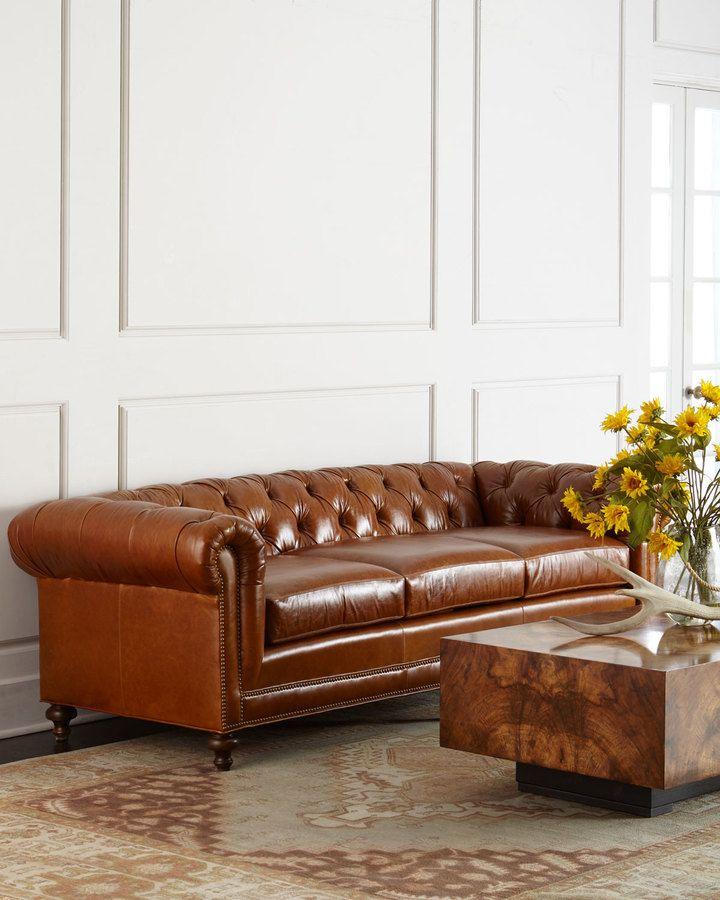"<ul> <li>Handcrafted Chesterfield sofa.</li> <li>Hardwood frame.</li> <li>Leather upholstery.</li> <li>Suspended coil-spring system and mortise-and-tenon frame construction for lasting comfort.</li> <li>94""W x 38""D x 31""T. Seat, 74""W x 24""D x 20""T.</li> <li>Made in the USA.</li> </ul>"