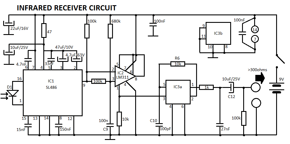 Infrared Receiver Circuit Diagram Schematics Circuits