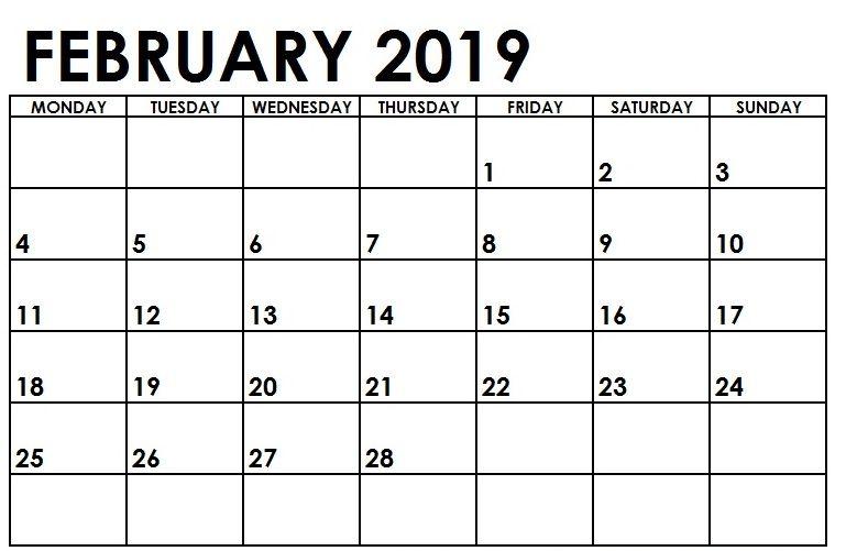 February 2019 Calendar School Blank Calendar February 2019 Monday Start #february #february2019