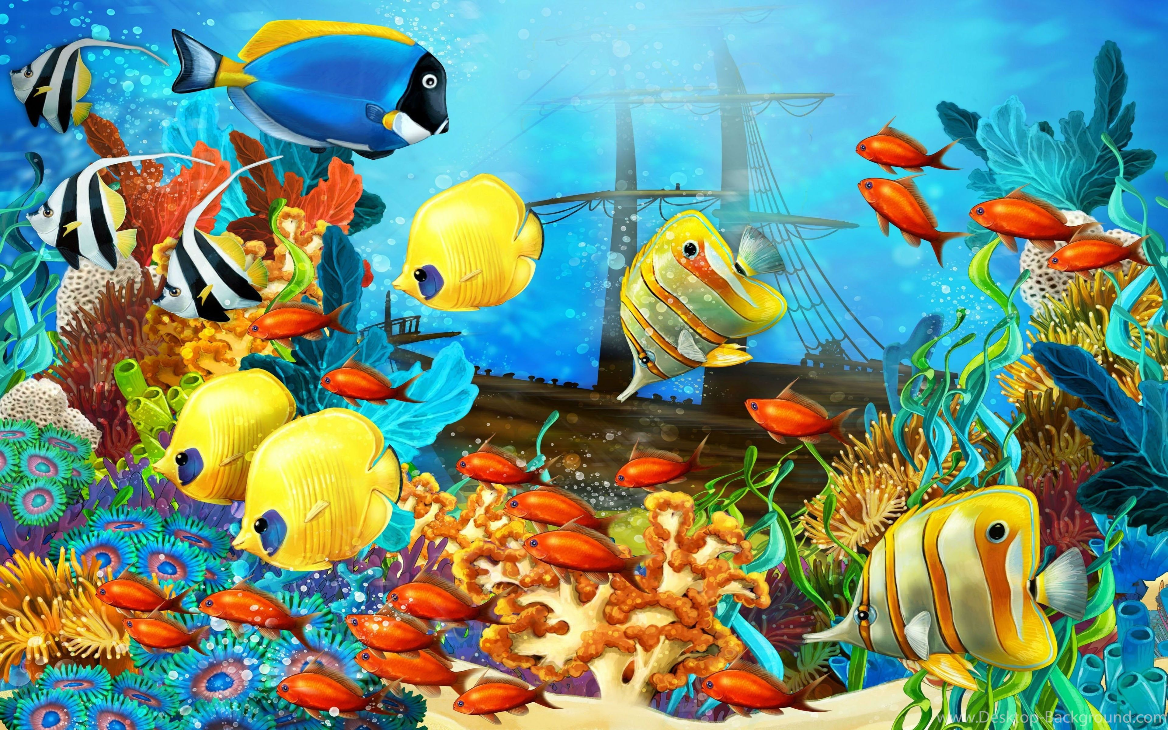 Colorful Fish Red Yellow Fish Corals Underwater Tropical Sea Ocean Sunken Ship A...