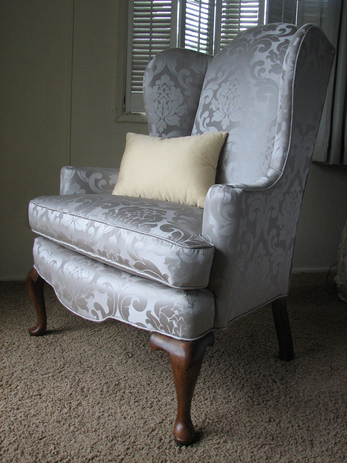Queen Anne Regal Wingback Chair In Grey / Silver Damask With Cabriole Feet  By Reconstructed Home