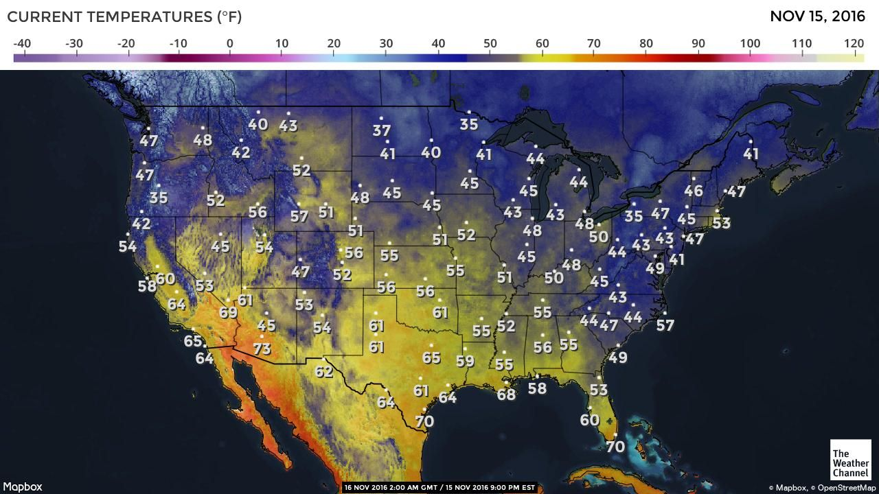US Current Temperatures Map Weather Pinterest Maps - Current temperature map in us