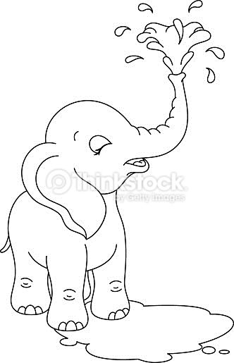 Cute Little Elephant Bathing Elephant Coloring Page Animal