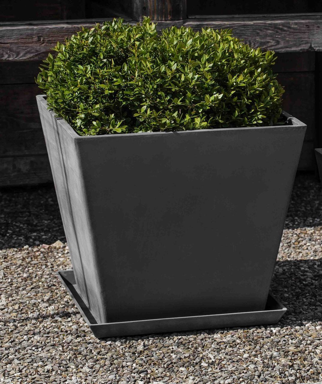 Ecopot large square planter and saucer in grey