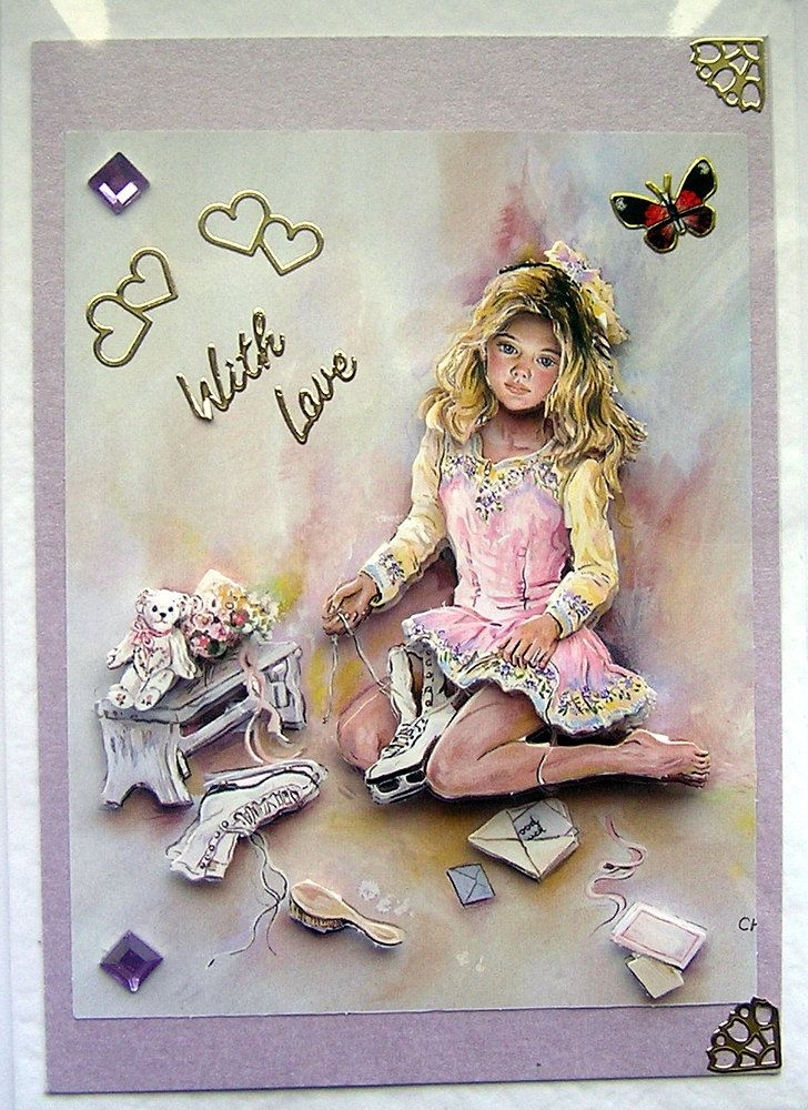 Dreams HandCrafted 3D Decoupage Card  With Love by SunnyCrystals, £2.25