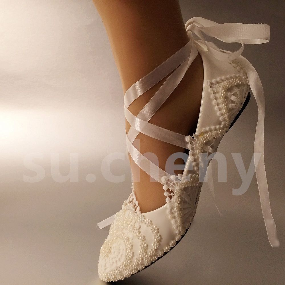 White / Ivory Pearls Lace Crystal Wedding Shoes Flat Ballet Bridal Size 5 12