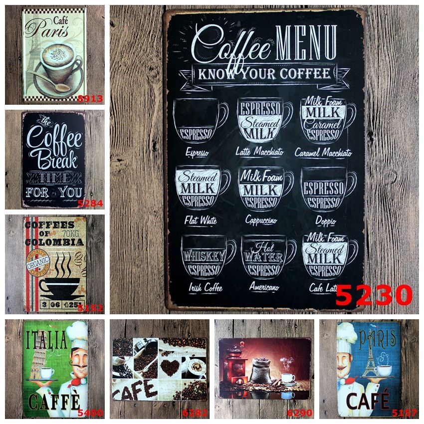 Decorative Wall Signs Simple Ideas Coffee Painting Tin Sign Cafe Pub Home Wall Decor Retro Inspiration
