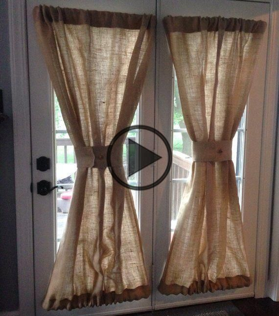 Burlap Sheers French Door Drapes Burlap Curtains French Country Window Treatment Burlap Panel Lined