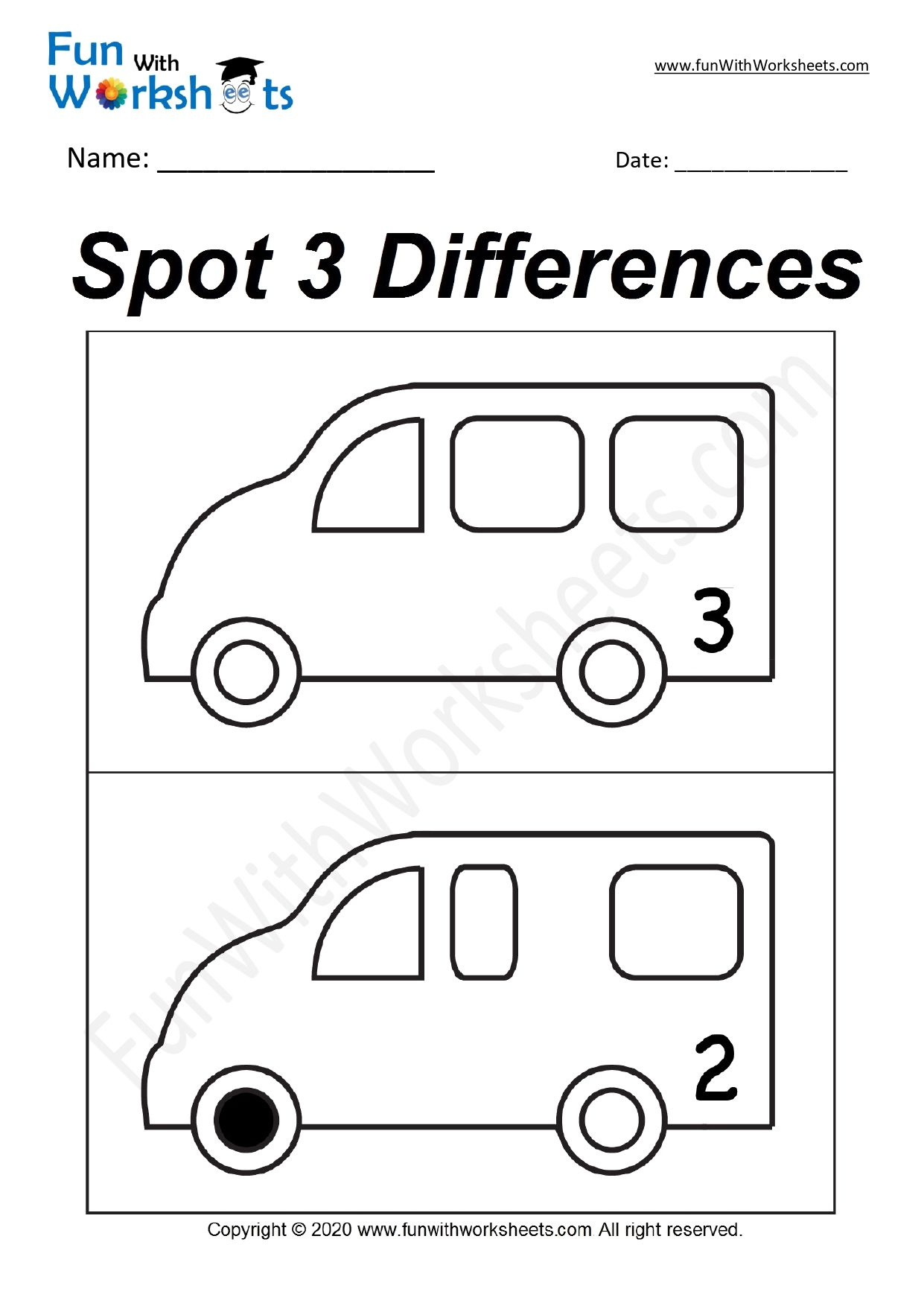 Spot The Difference Worksheet In