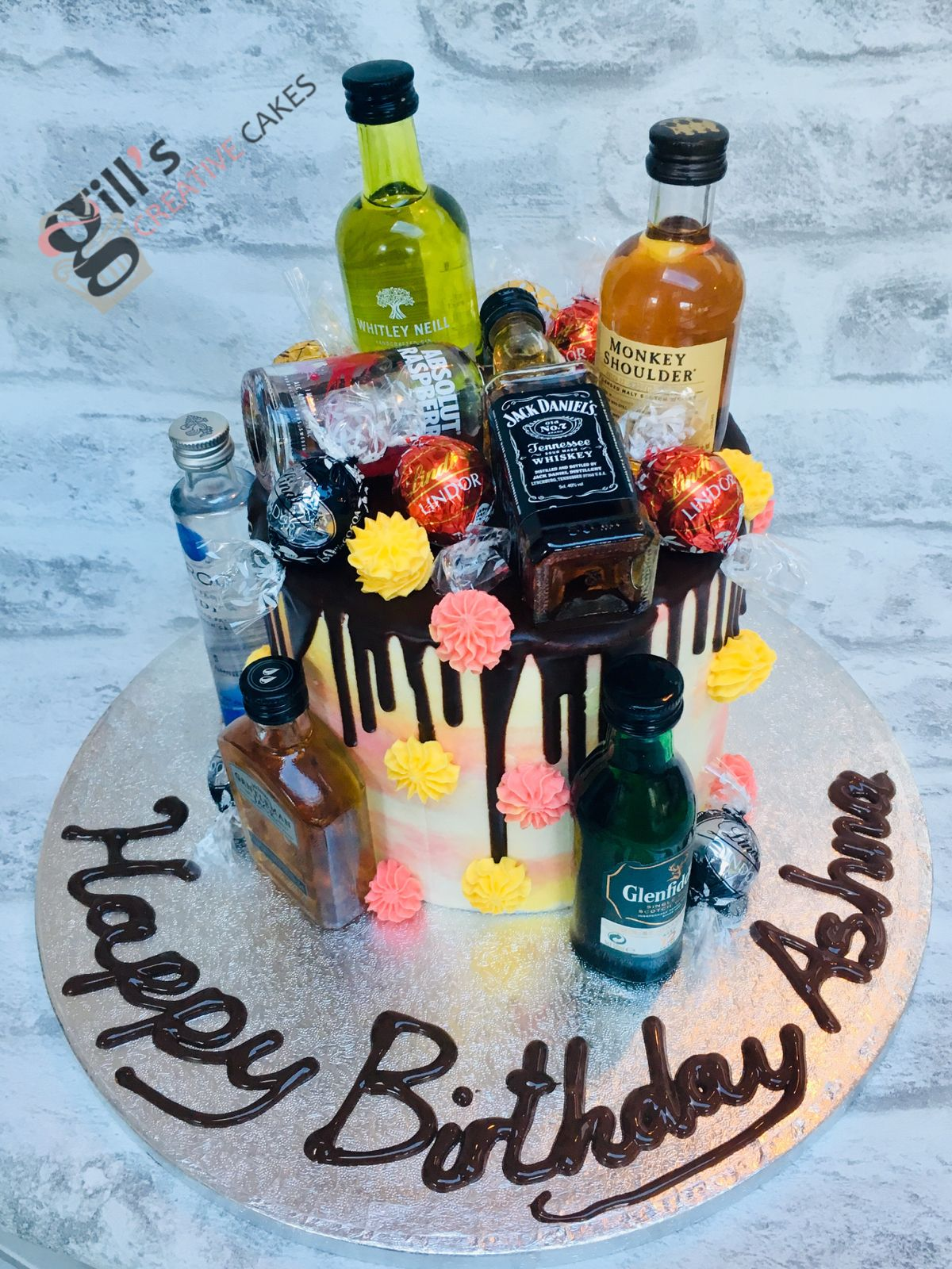 Remarkable Chocolate Drip Cake Decorated With Alcohol Miniatures Alcohol Funny Birthday Cards Online Elaedamsfinfo