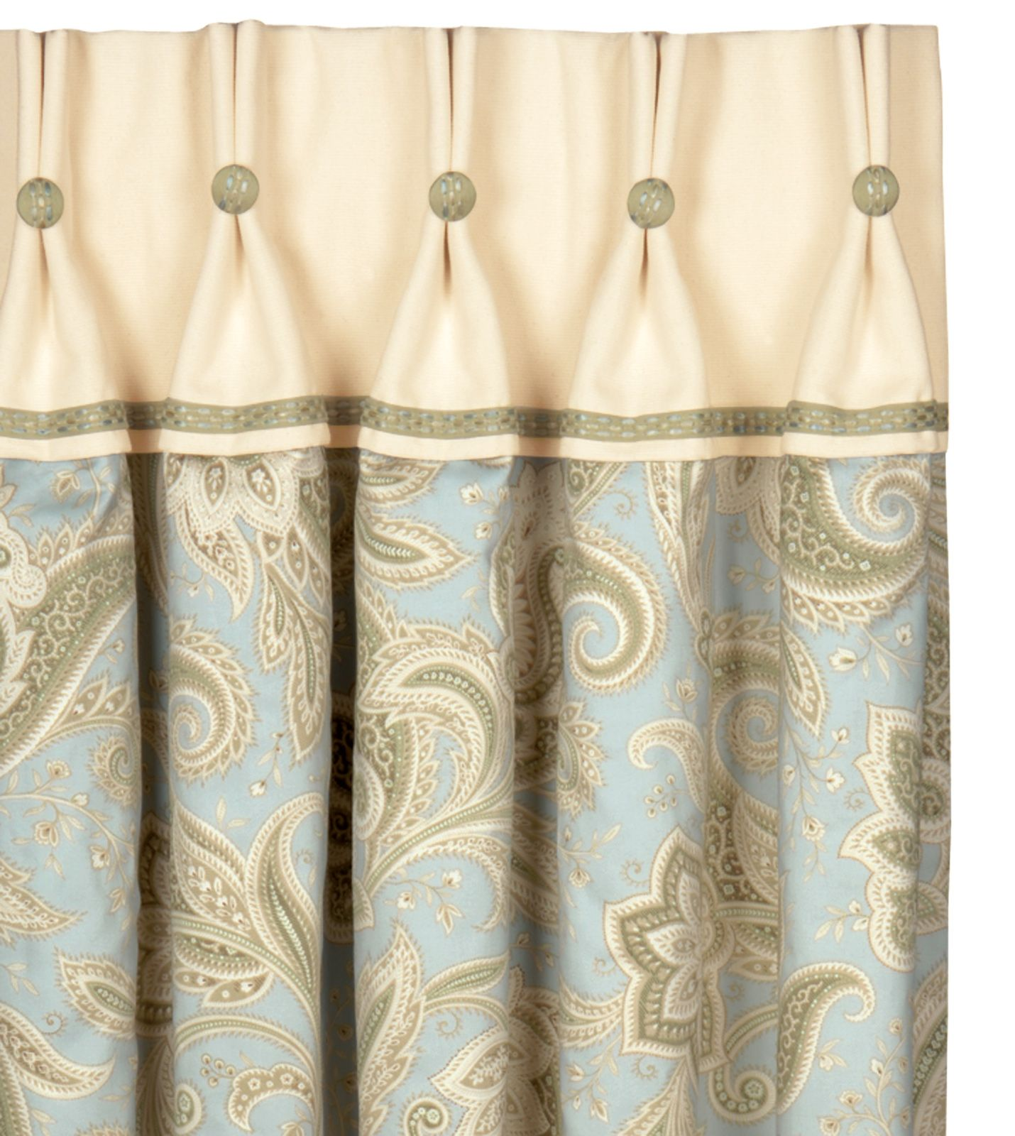 Drapery panel with buttons and a contrast header I like how the