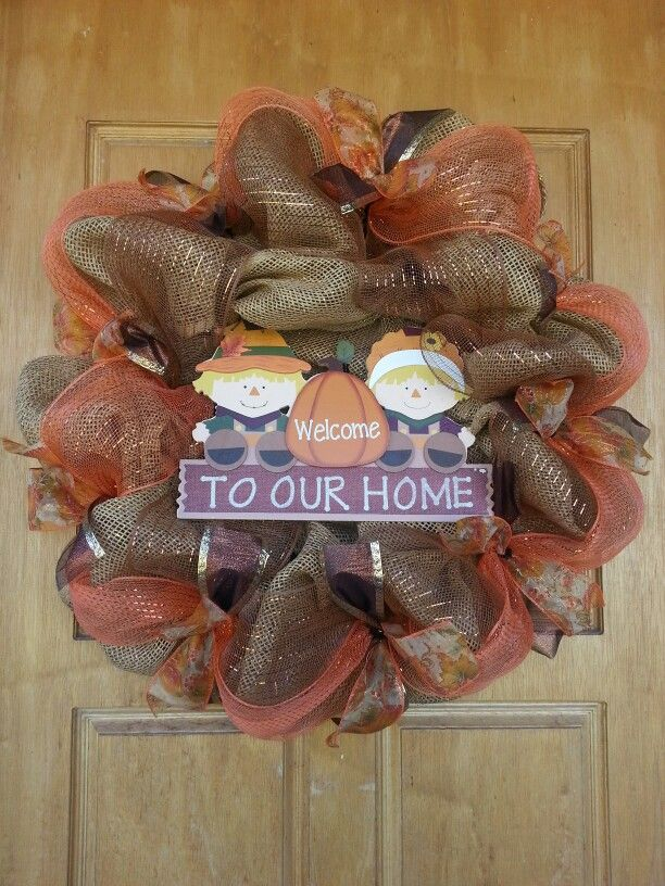 Fall paper mesh wreath