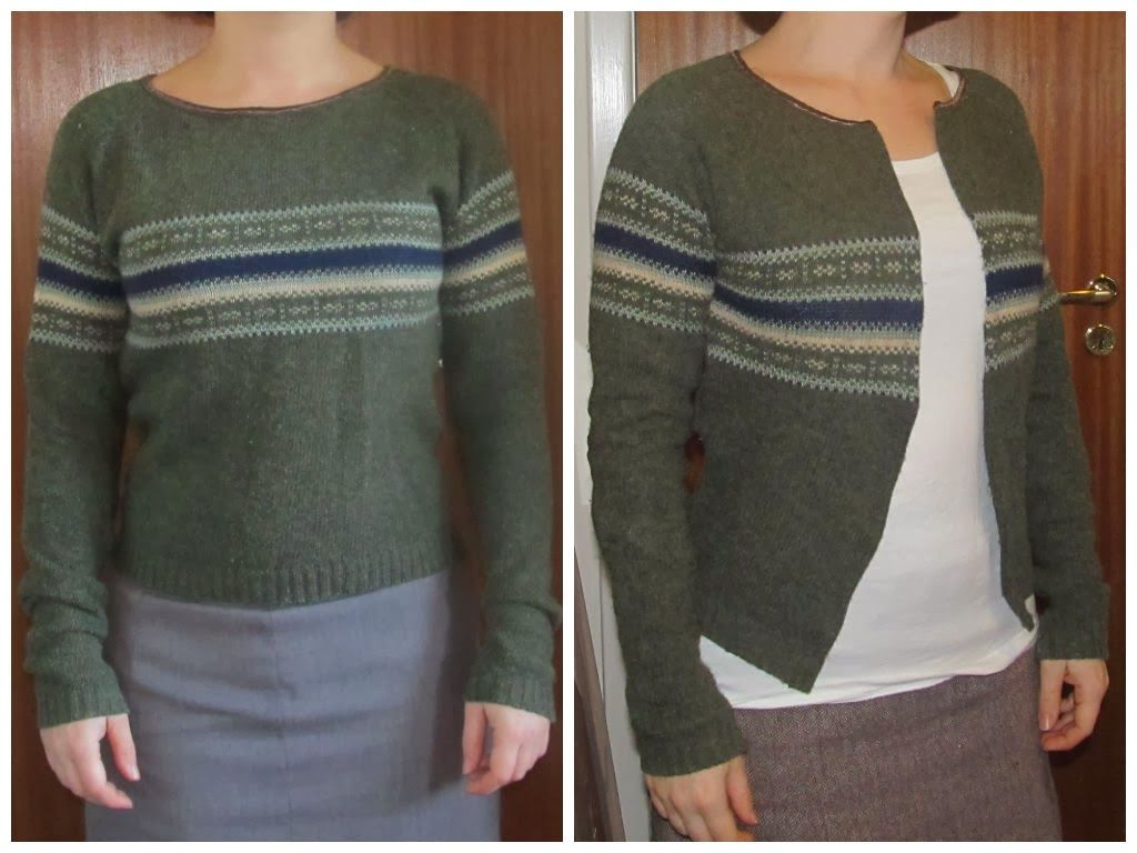 Sweater to cardigan Refashion upcycle DIY. Saga i farver: Omsyning (re-fasion)