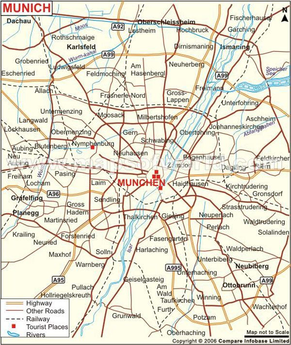 Map Of Germany Showing Munich.Map Showing Airports Highway Roads Railways Rivers Tourist