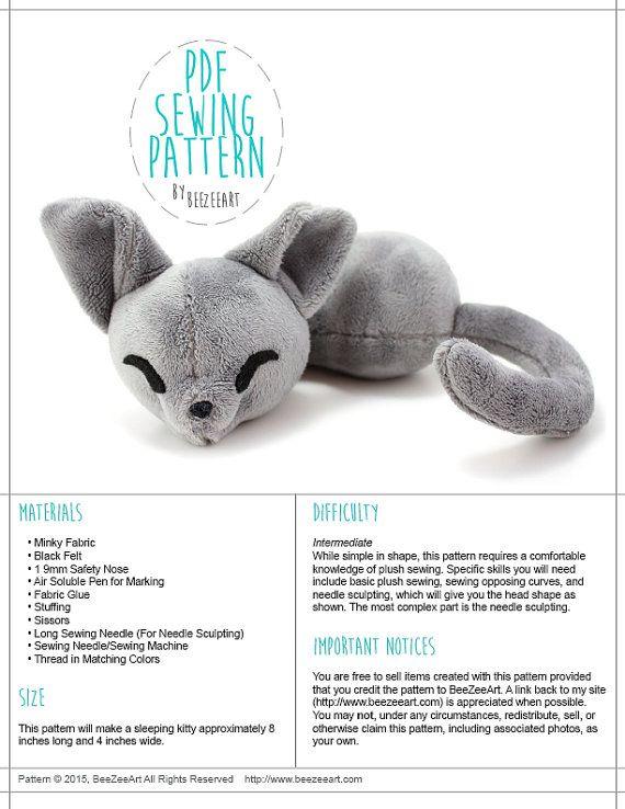 Sleepy Cat Stuffed Animal Sewing Pattern, Plush Toy Pattern, Sewing ...