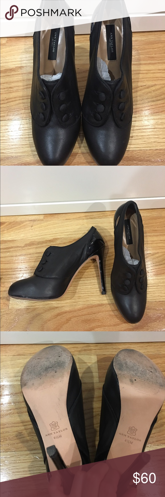 """Gently used ankle boots Gently used Ann Taylor ankle booties in black leather. Heel is 4"""" with 1"""" platform on the front. Heel is in perfect condition. Ann Taylor Shoes Ankle Boots & Booties"""