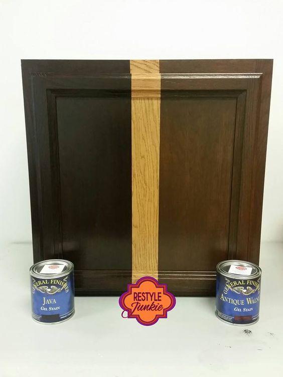 Java Gel Stain vs Antique Walnut Gel Stain.  Choosing between two popular dark General Finishes Gel Stain color.  Learn how to apply like a pro!  www.restylejunkieDIY.com