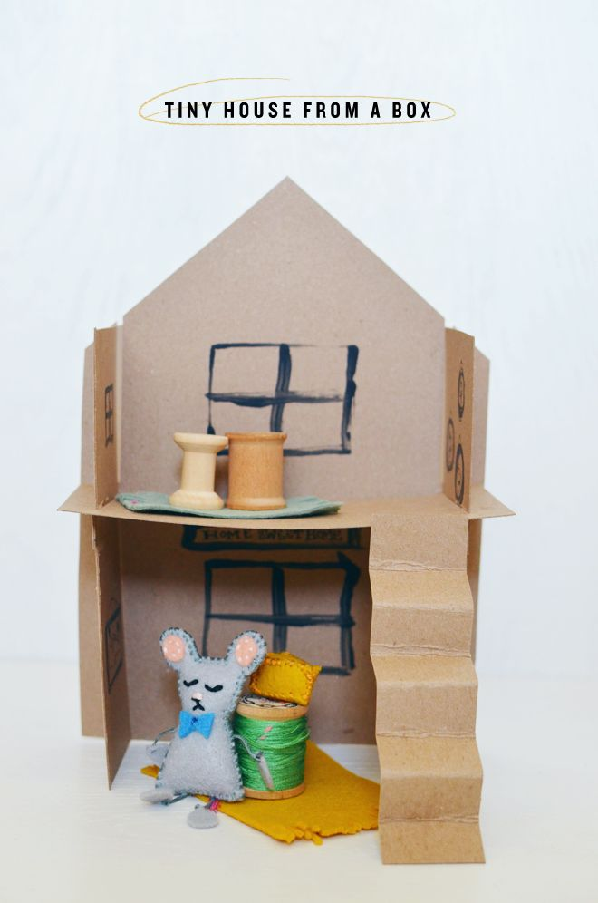 Diy Tiny House From A Box Cakies Diy Crafts Recycled Crafts