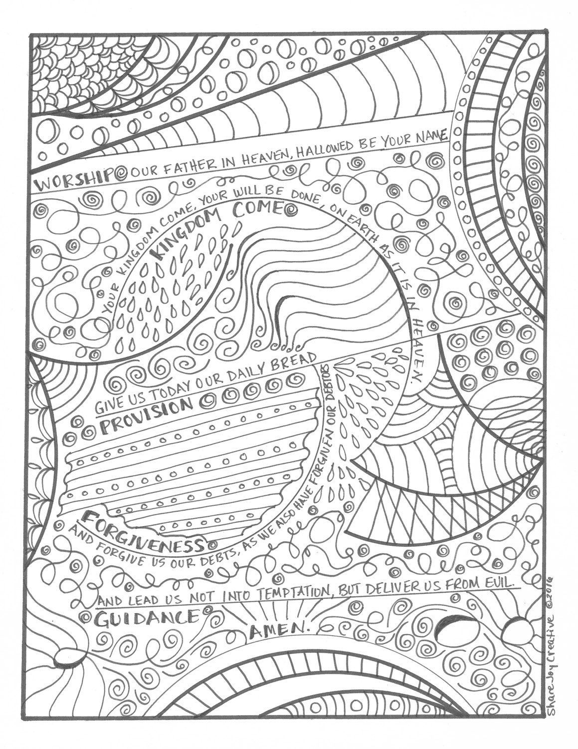 The Lord S Prayer Coloring Page By Sharejoycreative On Etsy