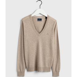 Photo of Gant Superfeiner Lambswool V-Neck Sweater (Beige) GantGant