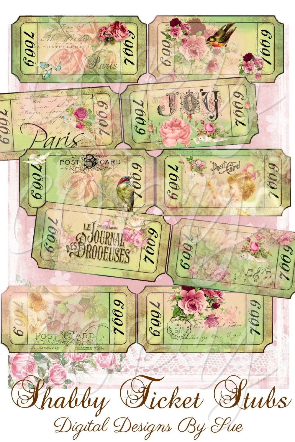 Shabby Ticket Stubs Printable Digital Collage Sheet Printable Craft ...