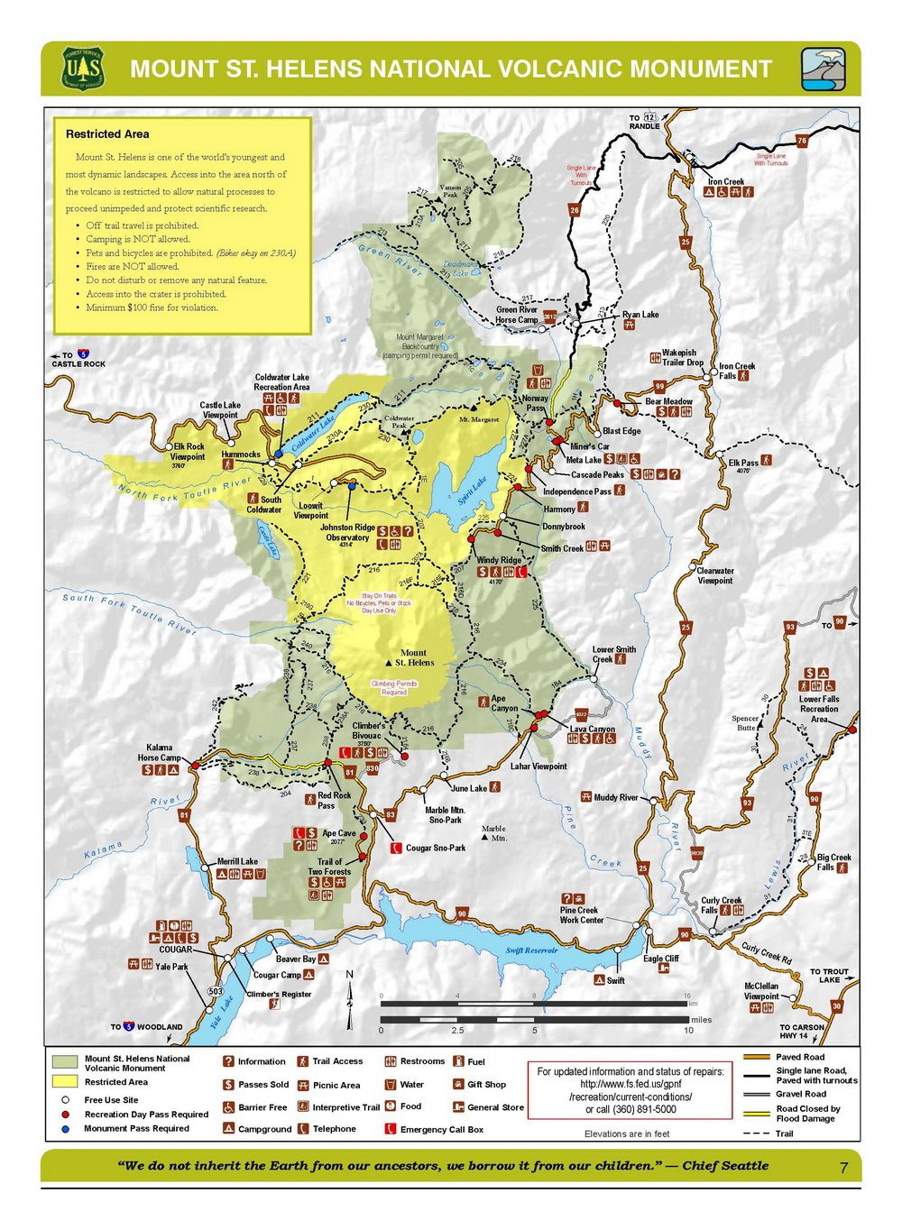 mount st helens monument trail map