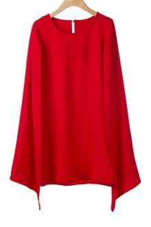 Solid Color Cape-Style Dress