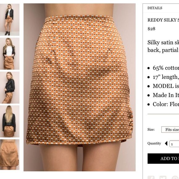"""BNWT gold geometric print silky skirt 17"""" in length, high waist fitting! I'm a 27 in Brandy jeans, I can't believe I can fit in this skirt, the cutting is amazing   Silky satin skirt in geometric print with a hidden zipper in back, partial elastic on the waistband and a side slit. Brandy Melville Skirts Mini"""