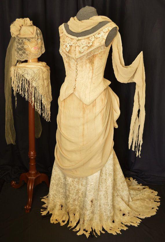 Steampunk Wedding Corpse Bride Bustle Gown, 6 Piece Set | Steampunk ...