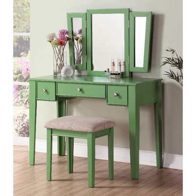 Found it at Wayfair - Bobkona Adar Vanity Set with Mirror Bedroom - Bedroom Vanity Table