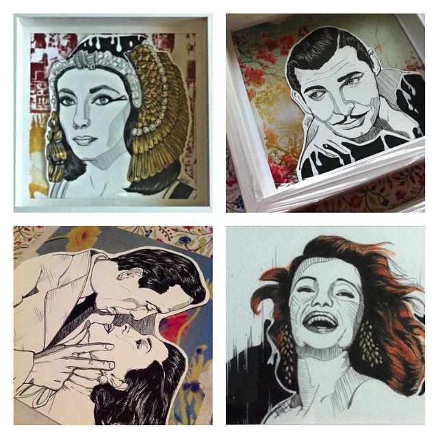 Galeria de cine (tecnica mixta 25x25) #elisabethtaylor #rhettbutler #bogart #bacall #rita #ilustracion #picture #portrait #movie #cine #instaart #instadraw #aartistic_dreamers #bouchac #dibujo #myart #dreams #mixmedia #ink #pencil #worldofpencils #watercolor #paper