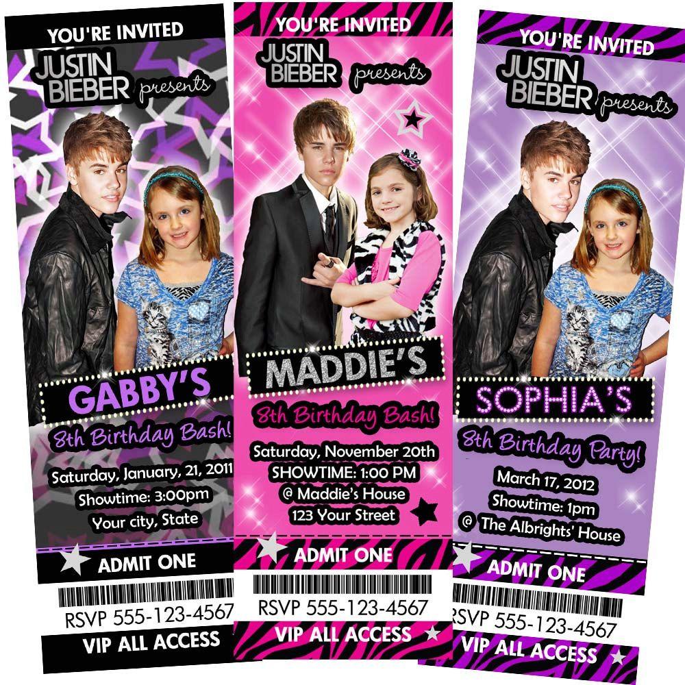 Justin Bieber Invitation Birthday Party By Maddierosedesignz Rockstar Birthday Party Star Birthday Party Justin Bieber Party
