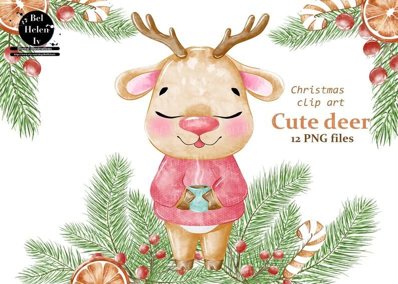 Watercolor Deer Clipart Christmas Clip Art Deer Cute Animal Clipart Cute Holidays Watercolor Clipart Christmas Deer Greetings Card In 2021 Christmas Clipart Clip Art Watercolor Deer