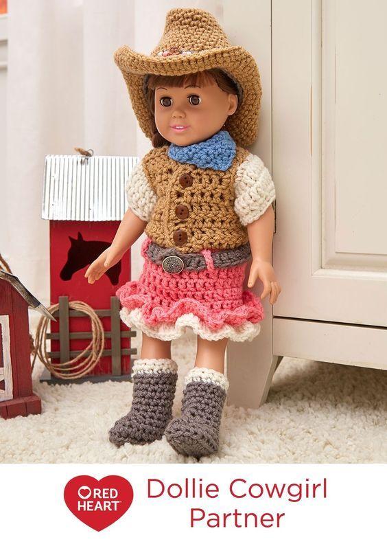 Dollie Cowgirl Partner Free Crochet Pattern In Red Heart Yarns
