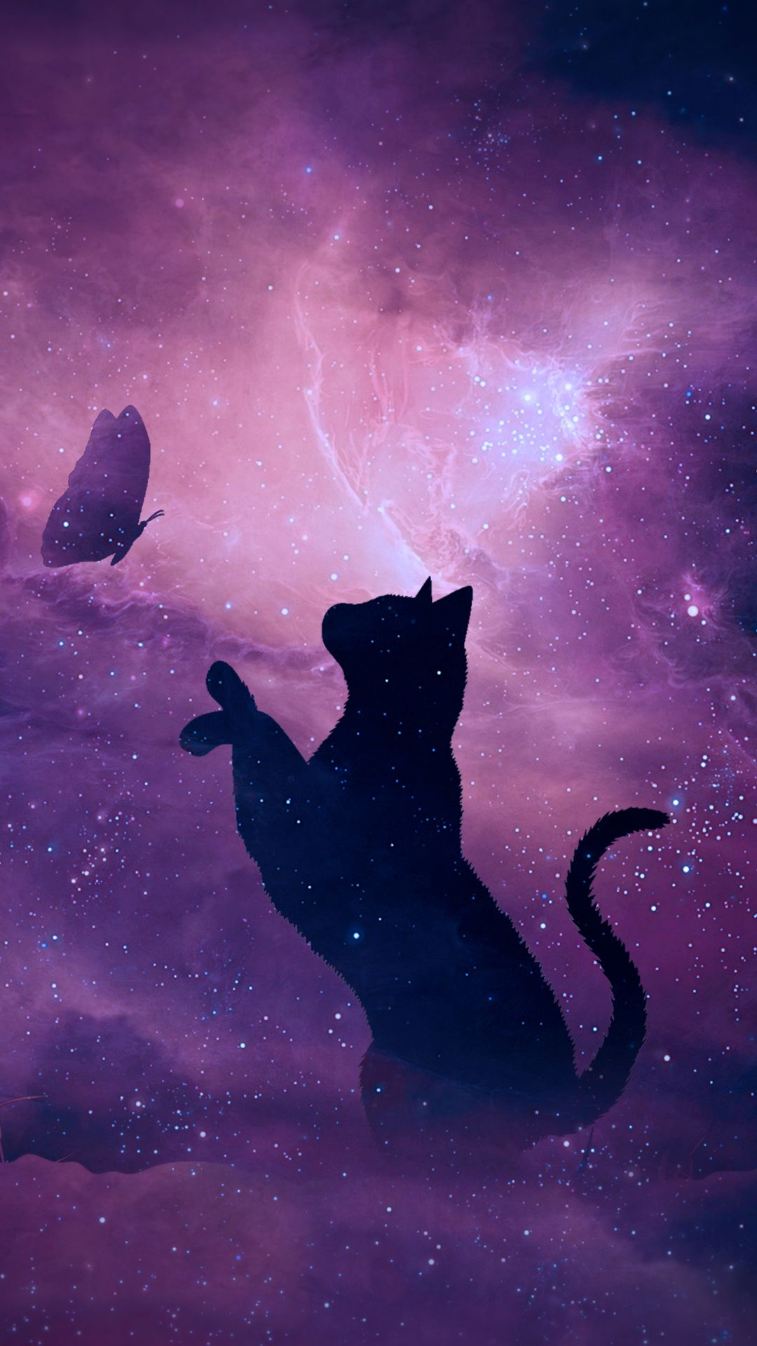 Wallpapers Black Cat Silhouette Cat Art Violet Black Cat Anime Cute Cat Wallpaper Cat Art