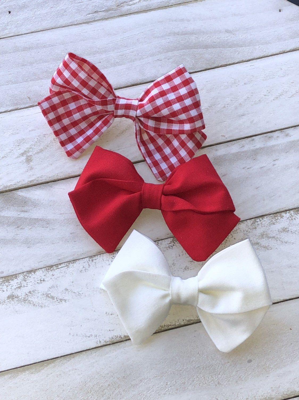 Hair Bow Bundle   Gingham hairbows   Infant Girl Headband   Set of 3 hand tied hair bows   Fabric Hair bows   School girl bows   Sailor bow