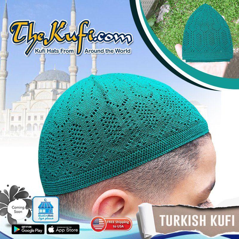 Olive Cotton Open-Knit Turkish Muslim Islamic Kufi Hat Taqiya Takke Skull Cap