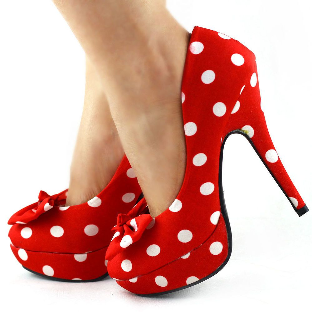 924abddc119 Ladies Cute Bow Satin Polka Dot Party/Club Platform High Heels Pumps ...