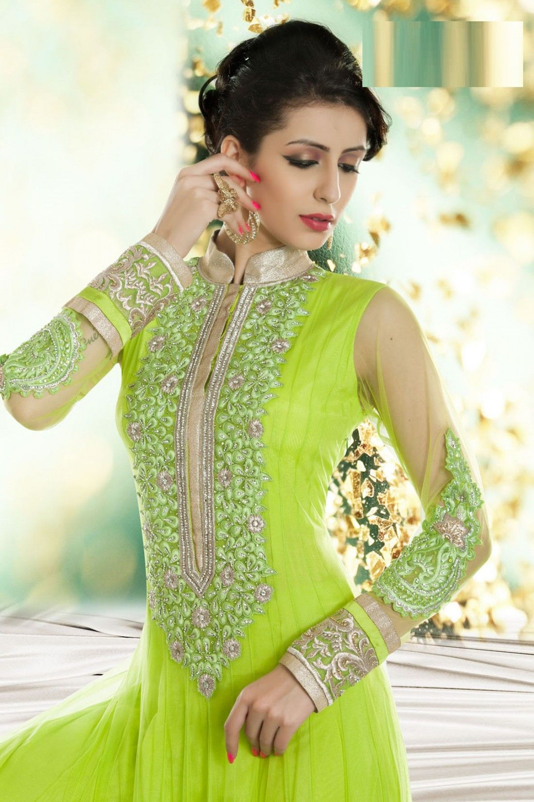 60c299afe1 Green Net Anarkali Suit with Embroidered and Lace Work | Indian ...