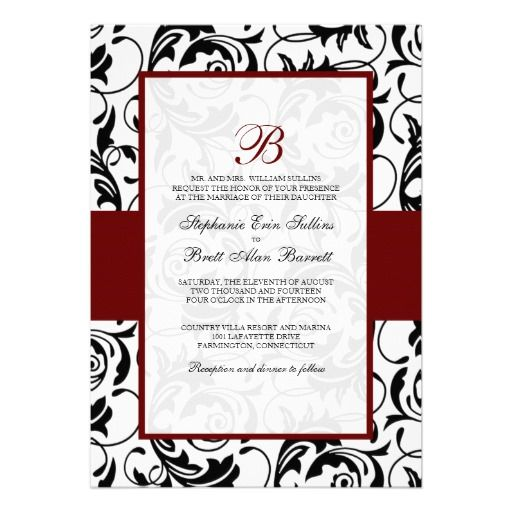 Damask Wedding Invitations In Red Black And White Wedding