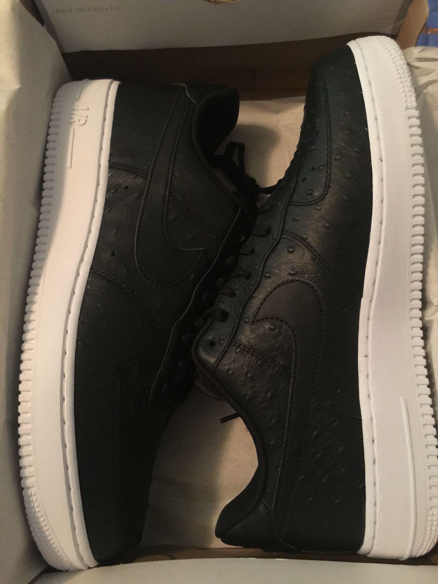 Nike Air Force 1 Black Ostrich