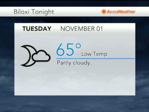 Nov 01 2016 5 23 Am Et Five Day Weather Forecast For Biloxi Ms