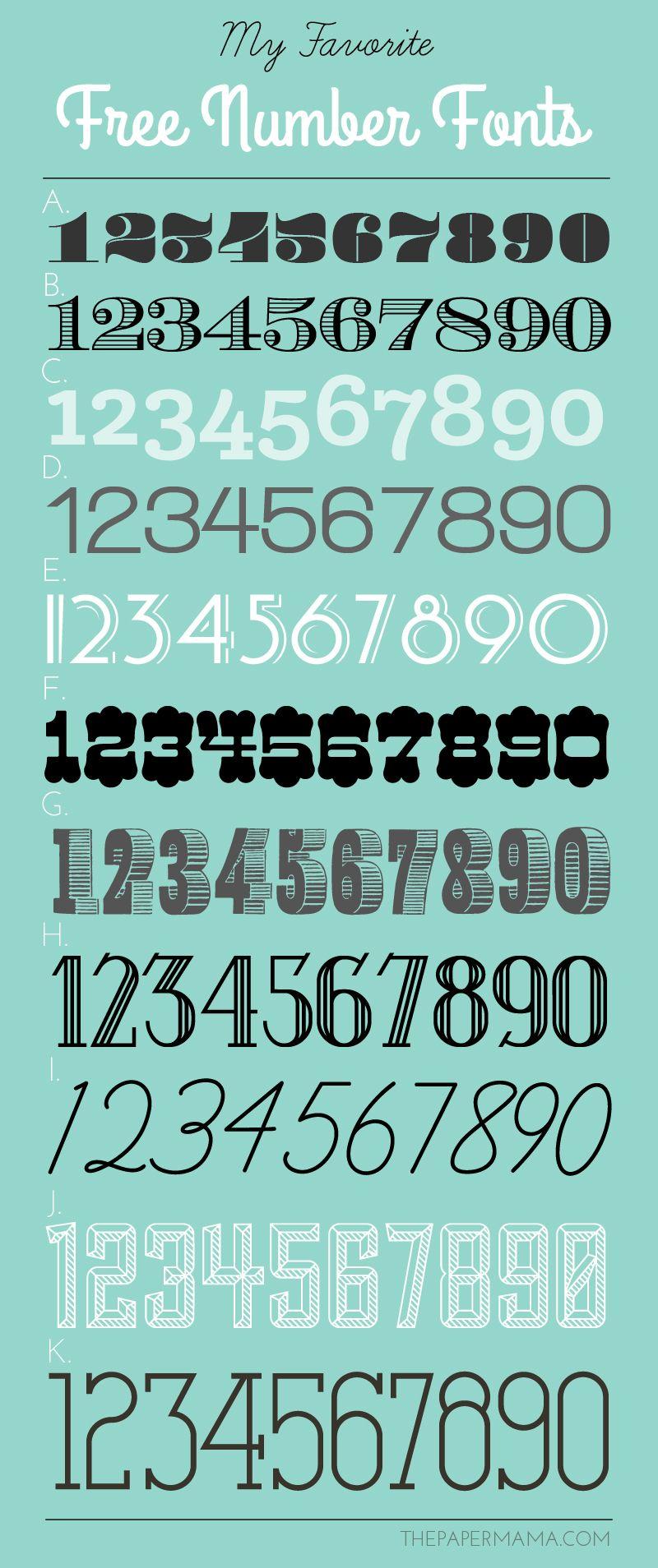 Download My Favorite Free Number Fonts! | Number fonts, Lettering ...