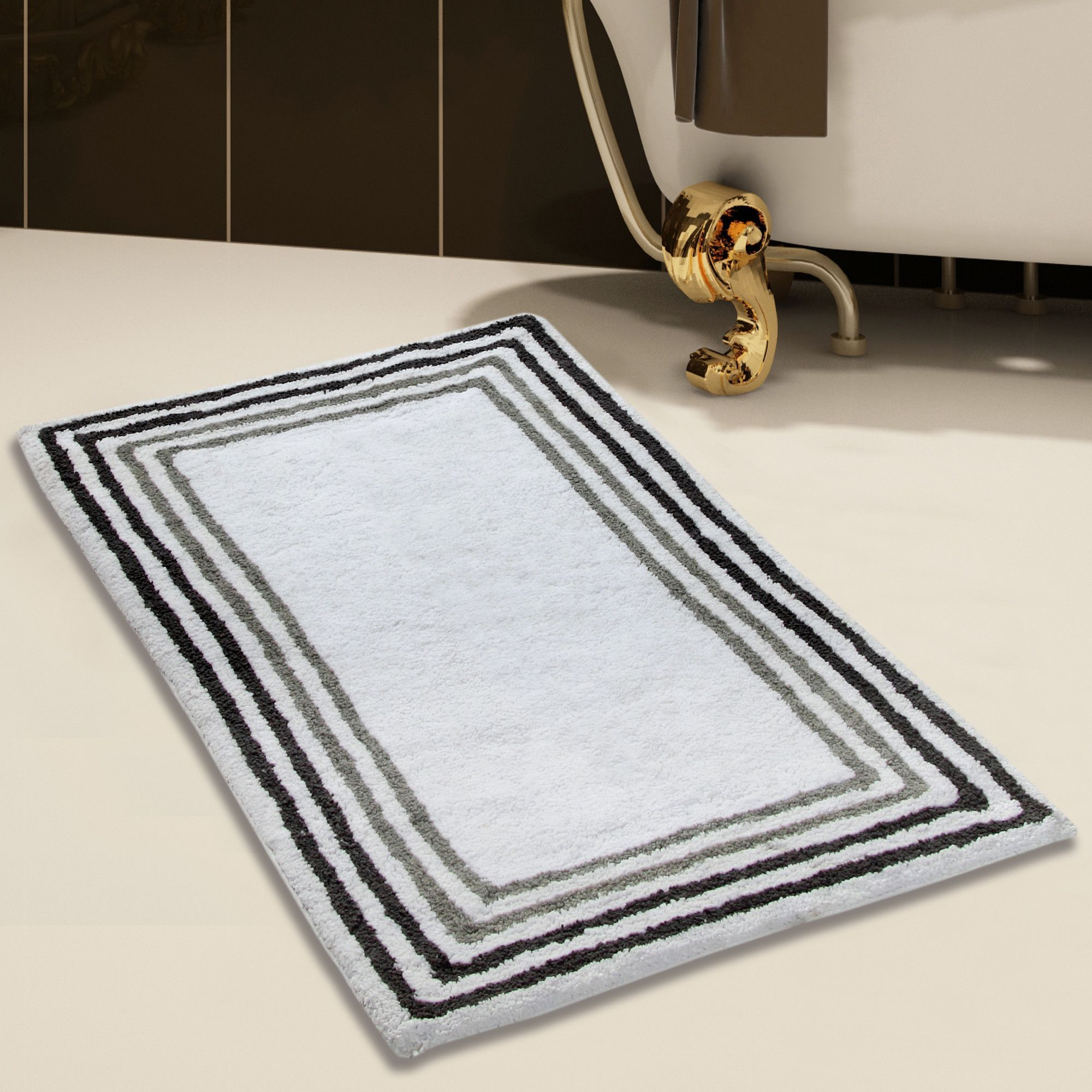 100 Soft Cotton 2 Piece Bath Rug Set Black Gold Bathroom Gold Bathroom